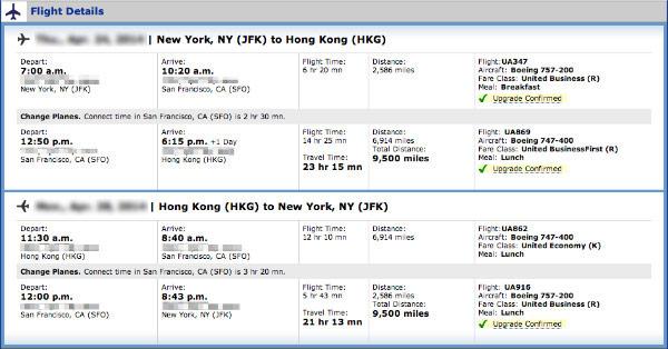 JFK to HKG